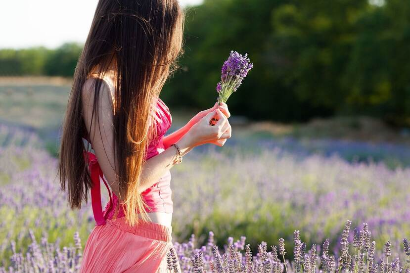 A girl standing in a field of lavender