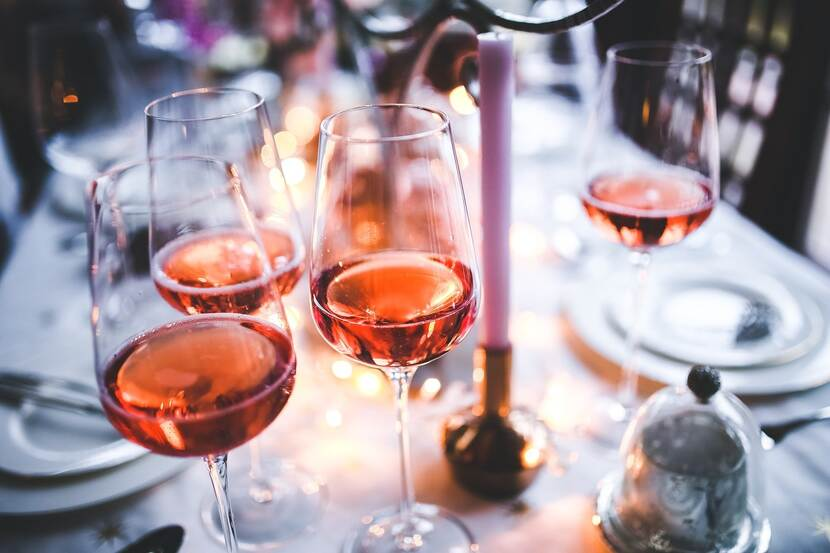 Photo of glasses of rosé wine
