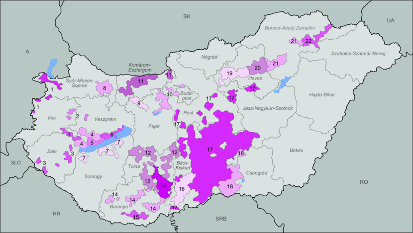 A map of Hungary's wine regions