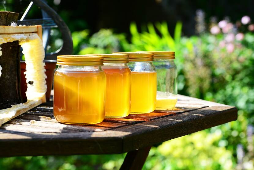 Jars of honey on a table