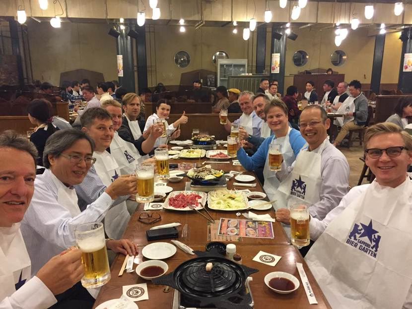njoying local delicacies Genghis Khan pot with mutton at a sort of Hofbrauhuis run by Sapporo Beer