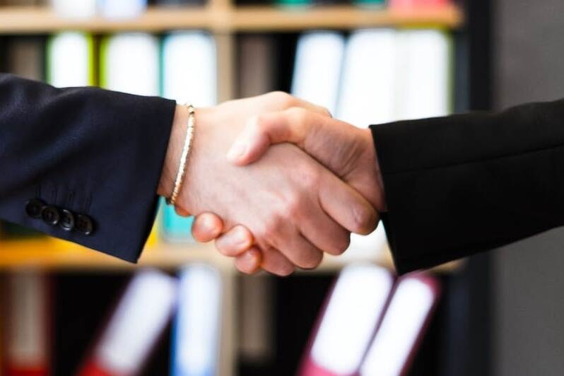 handshake in an office