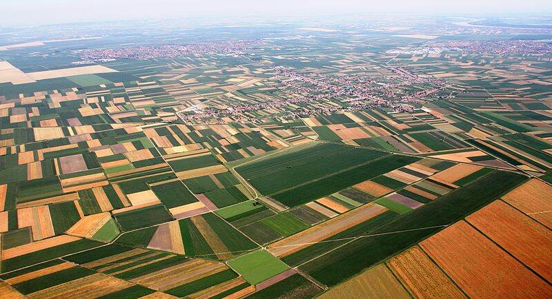 Crop planatations are seen from the air in Serbia