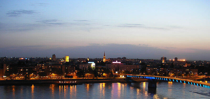 Evening panorama of the Novi Sad city center, as seen from the Petrovaradin fortress across the River Danube.