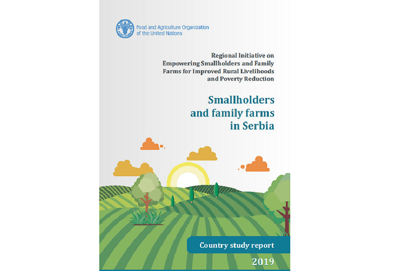 "The cover of the study ""Smallholders and family farms in Serbia"" is seen in the picture."