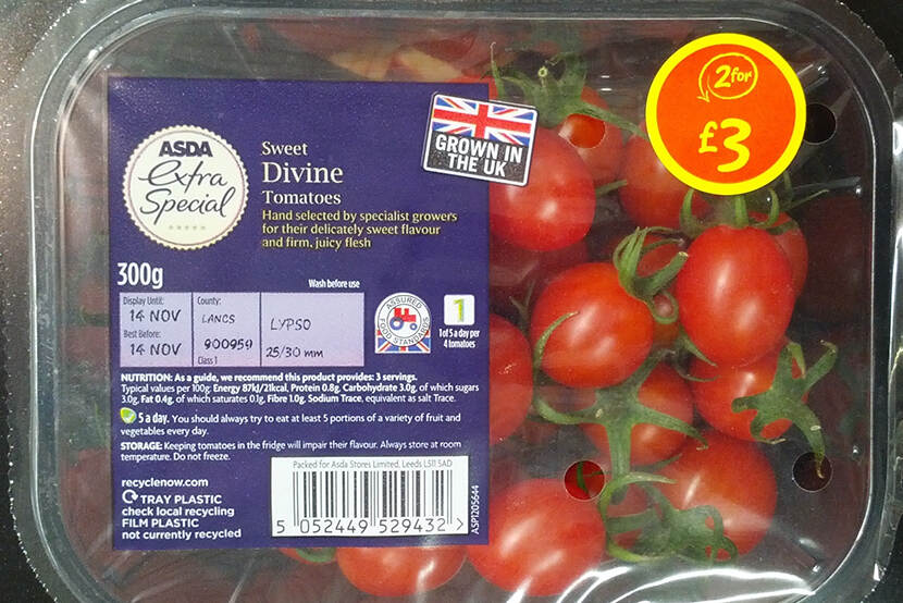 Tomaten, 'grown in the UK'