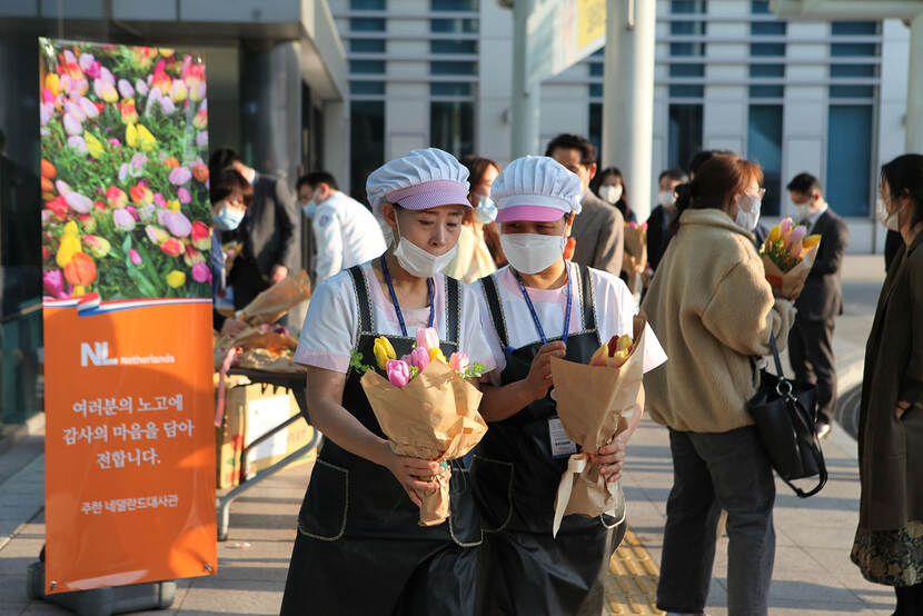 Hospital staffs with tulip bouquets